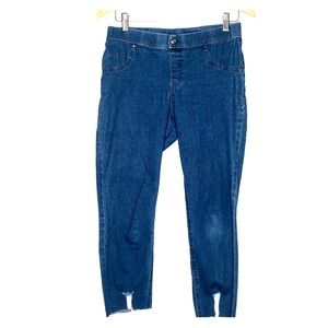 Hue Distressed Skninny Pull On Jeans M